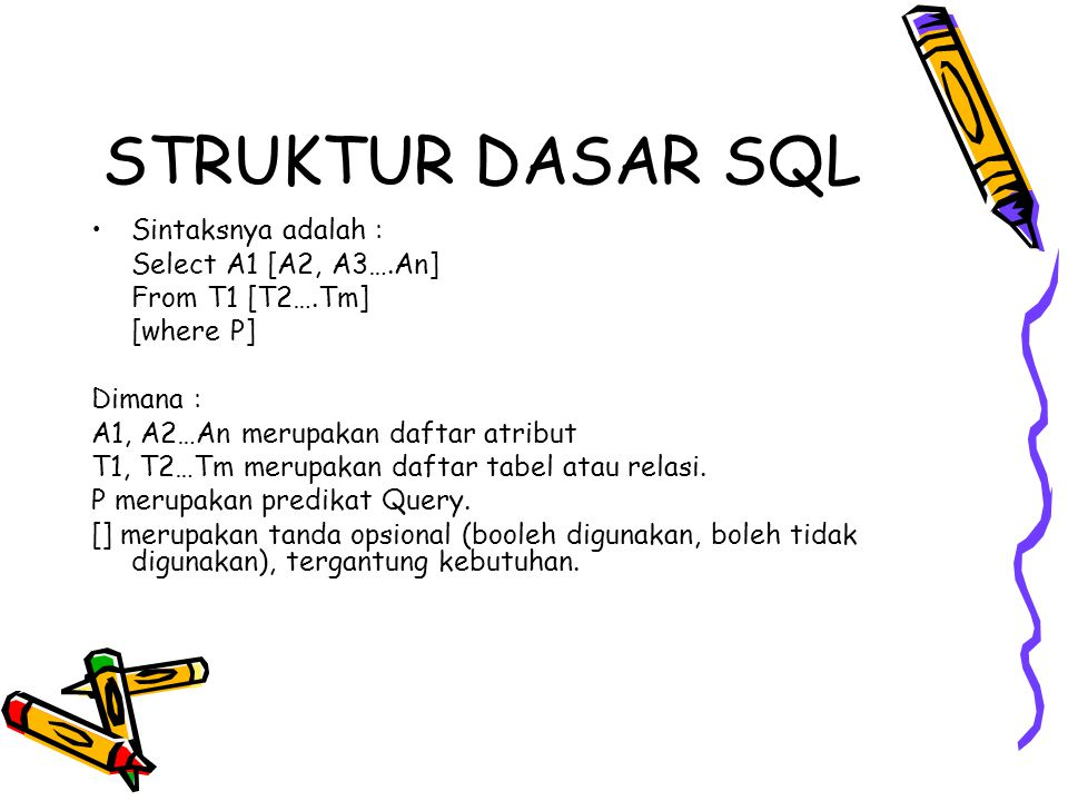 STRUKTUR DASAR SQL Sintaksnya adalah : Select A1 [A2, A3….An]